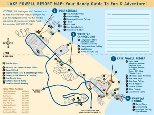 Lake Powell Maps, Lake Powell Resorts Map